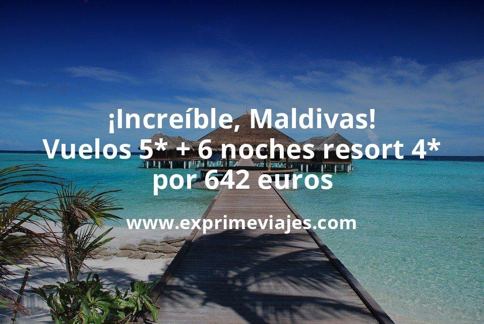 ¡Increíble! Maldivas: Vuelos flexibles 5* + 6 noches Resort 4* por 642euros