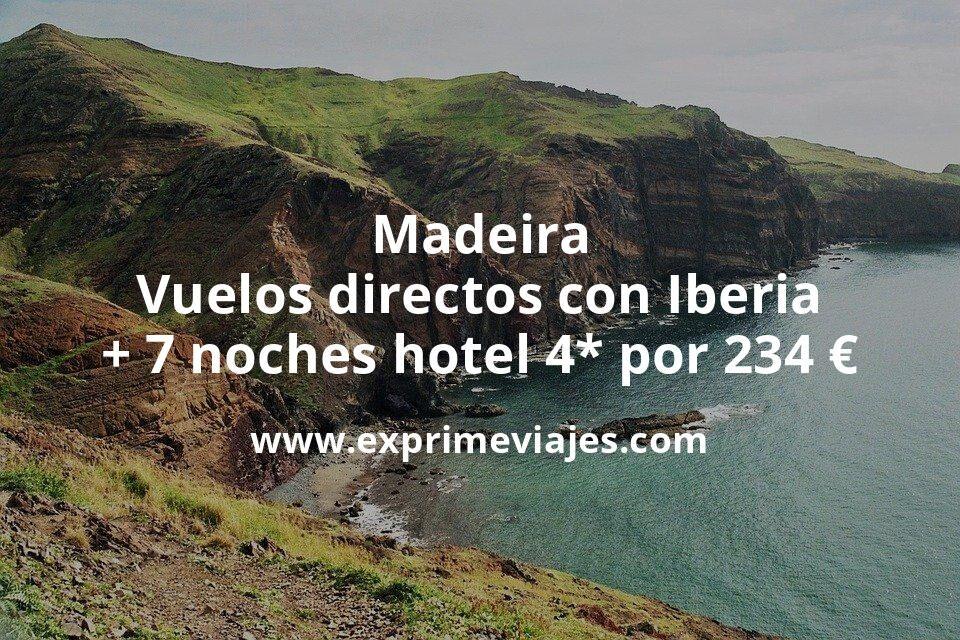 ¡Ofertón! Madeira: Vuelos directos con Iberia + 7 noches hotel 4* cancelable por 234euros